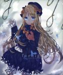 1girl abigail_williams_(fate/grand_order) absurdres bangs black_bow black_dress black_headwear blonde_hair bloomers blue_eyes blurry blurry_background bow bug butterfly commentary_request depth_of_field dress dutch_angle english_text fate/grand_order fate_(series) hair_bow hand_up hat highres hitomin_(ksws7544) insect keyhole long_hair long_sleeves looking_at_viewer multiple_bows multiple_hair_bows noose object_hug orange_bow parted_bangs parted_lips polka_dot polka_dot_bow rope sleeves_past_fingers sleeves_past_wrists solo stuffed_animal stuffed_toy teddy_bear underwear very_long_hair white_bloomers wind