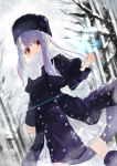 1girl aano_(10bit) absurdres bare_tree blush boots coat double-breasted eyebrows_visible_through_hair fate/stay_night fate_(series) forest hat highres huge_filesize illyasviel_von_einzbern long_hair looking_at_viewer nature purple_hair red_eyes scarf snow solo tree winter_clothes winter_coat
