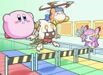 1girl 2boys bandaid bandana bandana_waddle_dee blue_eyes blush_stickers bonziri_1658 cape commentary_request conveyor_belt disembodied_limb extra_eyes fangs floating hal_laboratory_inc. horns hoshi_no_kirby hoshi_no_kirby_super_deluxe hoshi_no_kirby_wii hudson_soft humanoid_robot hurdle kirby kirby:_planet_robobot kirby:_triple_deluxe kirby_(series) long_hair mario_party minigame multiple_boys nd_cube nintendo nintendo_ead no_humans no_mouth open_mouth parody pink_hair pink_puff_ball polearm red_neckwear red_scarf robot scarf short_hair spear susie_(kirby) taranza tears weapon white_eyes white_hair yellow_eyes