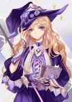 1girl black_nails blonde_hair book bookmark dress earrings hand_up hat highres holding holding_book jewelry kirisame_marisa long_hair looking_at_viewer nail_polish purple_headwear rela_xixuegui solo staff touhou upper_body violet_eyes witch_hat