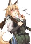 1girl animal_ears ayyh blonde_hair blush commentary_request engraved gun highres multicolored_hair orange_eyes original pouch shotgun shotgun_shells tail two-tone_hair vest weapon white_background