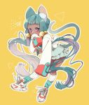 1girl animal_ear_fluff animal_ears bangs bell blue_legwear blush cat_ears cat_girl cat_tail commentary covered_mouth dark_skin dress frilled_dress frills full_body green_dress green_hair hair_bell hair_ornament highres jacket jingle_bell long_hair long_sleeves multicolored_hair nachoz_(natsukichann) original outline purple_hair shoes sleeves_past_fingers sleeves_past_wrists sneakers solo symbol_commentary tail tail_raised twintails two-tone_hair very_long_hair violet_eyes white_footwear white_jacket white_legwear white_outline yellow_background