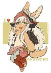 1other animal_ears artist_name blush character_name eyebrows_visible_through_hair full_body furry green_eyes heart kawasemi27 looking_at_viewer made_in_abyss nanachi_(made_in_abyss) open_mouth short_hair_with_long_locks smile twitter_username white_hair