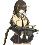 1girl ? assault_rifle black_hair braid braided_ponytail commentary_request confused drum_magazine eyepatch girls_frontline gun haguruma_(hagurumali) highres m16 m16a1 m16a1_(girls_frontline) magazine_(weapon) metal_gear_(series) metal_gear_solid_3 necktie rifle shiny single_braid skirt solo weapon