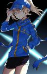 1girl absurdres ahoge arm_up artoria_pendragon_(all) bangs baseball_cap black_shorts blonde_hair blue_eyes blue_headwear blue_jacket blue_scarf closed_mouth commentary_request eyebrows_visible_through_hair fate/grand_order fate_(series) ghostkun hair_between_eyes hair_through_headwear hand_in_pocket hand_on_headwear hat head_tilt high_ponytail highres jacket long_hair long_sleeves mysterious_heroine_x ponytail scarf short_shorts shorts solo v-shaped_eyebrows