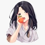 1girl aoi_(buzhuen444) bangs black_eyes black_hair blush commentary_request divine_child_of_rejuvenation food fruit half-closed_eyes highres japanese_clothes kimono licking looking_at_viewer naughty_face open_mouth parted_bangs persimmon portrait saliva saliva_trail sekiro:_shadows_die_twice solo tongue tongue_out