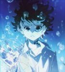 1girl air_bubble broken_glass bubble closed_mouth commentary crack cracked emma_(yakusoku_no_neverland) glass grey_eyes hand_up highres ke02152 long_sleeves looking_at_viewer neck_tattoo number_tattoo shirt short_hair simple_background solo standing tattoo touching underwater water white_shirt yakusoku_no_neverland