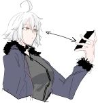 ahoge black_dress cellphone commentary_request dress eyebrows_visible_through_hair fate/grand_order fate_(series) fur_trim highres jeanne_d'arc_(alter)_(fate) jeanne_d'arc_(fate)_(all) phone pout pouty_lips sayota short_hair silver_hair sketch smartphone wicked_dragon_witch_ver._shinjuku_1999 yellow_eyes