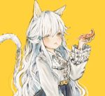 1girl 63suke animal_ears bangs belt blue_skirt blush cat_ears cat_tail cheese_trail closed_mouth commentary eating food frilled_sleeves frills hair_between_eyes hand_up high-waist_skirt long_hair long_sleeves looking_at_viewer mole mole_under_eye original pizza shirt skirt standing tail upper_body very_long_hair wavy_hair white_hair white_shirt yellow_background yellow_belt yellow_eyes