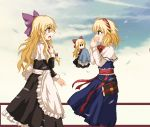 2girls absurdres ahoge alice_margatroid apron black_dress blonde_hair blue_dress blue_eyes blue_sky blush bow bowtie braid brooch capelet check_commentary chinese_commentary clouds commentary commentary_request cosplay covering_mouth cowboy_shot crying crying_with_eyes_open dress eye_contact eyebrows_visible_through_hair from_side grimoire_of_alice hair_between_eyes hair_bow hair_ribbon hairband hand_on_own_chest hand_over_own_mouth handkerchief highres jewelry kirisame_marisa lili2th long_hair long_sleeves looking_at_another mixed-language_commentary multiple_girls open_mouth profile red_neckwear ribbon sash shanghai_doll shanghai_doll_(cosplay) single_braid sketch sky sleeve_cuffs solid_oval_eyes standing streaming_tears tears touhou tress_ribbon very_long_hair waist_apron white_capelet yellow_eyes yuri