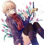 1girl :t artoria_pendragon_(all) bangs black-framed_eyewear blonde_hair blue_footwear blue_jacket blue_shirt blue_skirt blush boots brown_eyes brown_legwear closed_mouth commentary_request dango eating excalibur eyebrows_visible_through_hair fate/grand_order fate_(series) feet_out_of_frame fingernails flower food fringe_trim glasses hair_between_eyes holding holding_food jacket knee_boots knees_up kuro_futoshi long_sleeves looking_at_viewer mysterious_heroine_x_(alter) open_clothes open_jacket plaid plaid_scarf pleated_skirt red_flower red_scarf sanshoku_dango scarf shirt sidelocks skirt solo thigh-highs thighhighs_under_boots wagashi white_background