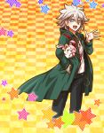 1girl :d black_pants blue_eyes chain checkered checkered_background danganronpa floating_hair green_coat hair_between_eyes hood hood_down hooded_coat komaeda_nagito looking_at_viewer monomi open_mouth outstretched_hand pants print_shirt shirt silver_hair smile solo standing super_danganronpa_2 white_shirt yellow_background yumaru_(marumarumaru)