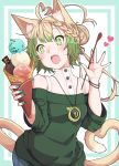 1girl absurdres ahoge animal_ear_fluff animal_ears atalanta_(fate) bangs blue_pants braid cat_ears cat_girl cat_tail commentary_request eyebrows_visible_through_hair fang fate/apocrypha fate_(series) food gradient_hair green_eyes green_hair green_sweater hair_between_eyes hair_bun head_tilt heart heart_ahoge heart_tail highres holding holding_food holding_spoon ice_cream kirishina_(raindrop-050928) light_brown_hair long_sleeves medallion multicolored_hair off-shoulder_sweater off_shoulder open_mouth pants see-through shirt sleeveless sleeveless_shirt solo sparkle spoon sweater tail white_shirt wide_sleeves