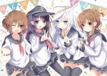 4girls :d ;d akatsuki_(kantai_collection) anchor_symbol anniversary aruka_(alka_p1) belt black_legwear blue_eyes blue_headwear blue_skirt brown_eyes brown_hair confetti eyebrows_visible_through_hair fang flat_cap folded_ponytail hair_between_eyes hair_ornament hairclip hammer_and_sickle hat hibiki_(kantai_collection) ikazuchi_(kantai_collection) inazuma_(kantai_collection) kantai_collection long_hair long_sleeves looking_at_viewer multiple_girls neckerchief one_eye_closed open_mouth pantyhose pennant pleated_skirt purple_hair red_neckwear sailor_collar school_uniform serafuku short_hair silver_hair skirt smile star streamers string_of_flags thigh-highs v verniy_(kantai_collection) violet_eyes white_headwear