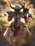 1girl armor blood bloody_clothes breastplate clouds commentary fate/apocrypha fate/grand_order fate_(series) feet_out_of_frame flag gauntlets helmet holding holding_sword holding_weapon horns ihan mordred_(fate) mordred_(fate)_(all) outdoors sand shoulder_plates solo spiked_gauntlets standing sunset sword torn_flag weapon