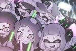 +_+ 6+girls :d ^_^ aori_(splatoon) artist_name baseball_cap beanie closed_eyes closed_mouth concert cousins domino_mask glowstick hat headgear hime_(splatoon) hotaru_(splatoon) iida_(splatoon) inkling mask multiple_girls notori_d octarian octoling open_mouth pointy_ears short_hair smile splatoon_(series) splatoon_2 splatoon_2:_octo_expansion squidbeak_splatoon suction_cups sunglasses surgical_mask symbol-shaped_pupils tentacle_hair