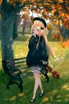 1girl abigail_williams_(fate/grand_order) bangs bench black_bow black_dress black_headwear blonde_hair blue_eyes blush bow bug butterfly commentary day dress english_commentary eyebrows_visible_through_hair fate/grand_order fate_(series) forehead grass hair_bow hat highres holding holding_instrument insect instrument long_hair long_sleeves mary_janes mitamura multiple_bows multiple_hair_bows orange_bow outdoors park_bench parted_bangs parted_lips polka_dot polka_dot_bow shoes sleeves_past_wrists solo standing tree very_long_hair violin