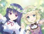 2girls :d ahoge bangs black_bow black_hair blonde_hair blurry blurry_foreground blush bow brown_dress clover clover_(flower) commentary_request day depth_of_field dress eyebrows_visible_through_hair flower flower_wreath from_above grass green_eyes hair_between_eyes head_wreath holding_hands idolmaster idolmaster_cinderella_girls interlocked_fingers juliet_sleeves long_hair long_sleeves looking_at_viewer lying multiple_girls neck_ribbon on_back on_grass open_mouth outstretched_arm puffy_sleeves purple_skirt red_eyes red_ribbon ribbon sajou_yukimi shade shirt skirt sleeveless sleeveless_dress smile takashina_asahi upper_body very_long_hair white_flower white_shirt yusa_kozue