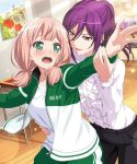 2girls bad_id bad_twitter_id bang_dream! bangs black_pants blush book center_frills clothes_writing cropped dancing desk frilled_sleeves frills green_eyes hair_between_eyes half_updo hand_on_another's_waist hands_up indoors jacket long_sleeves looking_at_another low_twintails medium_hair multiple_girls official_art open_mouth outstretched_arms pants pink_hair ponytail poster_(object) purple_hair red_eyes school_desk seta_kaoru shirt smile spread_arms track_jacket track_pants twintails uehara_himari violet_eyes white_shirt wooden_floor yuri