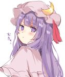1girl bangs blue_ribbon blush capelet commentary_request crescent crescent_hair_ornament dress eyebrows_visible_through_hair hair_ornament hat hat_ribbon head_tilt holding long_hair looking_at_viewer mob_cap paragasu_(parags112) patchouli_knowledge pink_capelet pink_dress pink_headwear purple_hair red_ribbon ribbon simple_background solo sweat touhou translation_request upper_body violet_eyes white_background