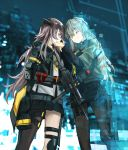 2girls assault_rifle bangs black_jacket black_legwear blurry blurry_background brown_eyes brown_hair commentary_request crossed_bangs eyebrows_visible_through_hair ghost girls_frontline grey_hair gun h&k_ump45 hair_between_eyes heckler_&_koch highres holding holding_gun holding_weapon jacket kisetsu mod3_(girls_frontline) multiple_girls night night_sky one_eye_closed one_side_up open_clothes open_jacket outdoors pantyhose rifle scar scar_across_eye shirt sky smile submachine_gun tears ump40_(girls_frontline) ump45_(girls_frontline) weapon white_shirt yellow_eyes