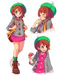 1girl :d arnaud_tegny backpack bag bangs bob_cut boots brown_bag brown_eyes brown_footwear brown_hair cardigan checkered_footwear commentary dress female_protagonist_(pokemon_swsh) full_body green_footwear green_headwear green_legwear grey_cardigan hand_to_own_mouth hat highres holding holding_poke_ball holding_strap jacket laughing long_sleeves looking_at_viewer multiple_views open_clothes open_jacket open_mouth pink_dress poke_ball pokemon pokemon_(game) pokemon_swsh short_hair simple_background smile socks tam_o'_shanter upper_body white_background