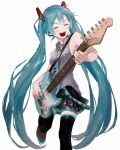 1girl aqua_hair bare_shoulders belt black_legwear black_skirt closed_eyes commentary electric_guitar feet_out_of_frame grey_shirt guitar hair_ornament hatsune_miku highres holding holding_instrument instrument leg_up ligton1225 long_hair music nail_polish necktie playing_instrument shirt shoulder_tattoo skirt sleeveless sleeveless_shirt smile solo stratocaster tattoo thigh-highs twintails very_long_hair vocaloid