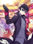 1boy amamiya_ren black_hair black_jacket card casino commentary_request cowboy_shot face_mask gloves gun handgun highres holding holding_weapon indoors jacket kyundoo looking_at_viewer male_focus mask messy_hair parted_lips persona persona_5 persona_5_the_royal pistol playing_card red_gloves short_hair smile solo stairs weapon