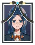 1girl black_jacket blazer blue_eyes blue_hair commentary_request danganronpa frame glasses iei jacket kureha221 long_hair looking_at_viewer new_danganronpa_v3 orange_neckwear orange_ribbon photo ribbon school_uniform semi-rimless_eyewear shirogane_tsumugi shirt smile solo spoilers under-rim_eyewear white_shirt