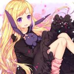 1girl :d alternate_costume alternate_hairstyle bangs black_dress blonde_hair collarbone dress elise_(fire_emblem_if) eyebrows_visible_through_hair fire_emblem fire_emblem_if floral_background flower highres knees_together_feet_apart knees_up long_hair looking_at_viewer loose_socks multicolored_hair object_hug open_mouth pink_flower pink_legwear pink_rose purple_hair rose rose_background sitting smile solo streaked_hair stuffed_animal stuffed_bunny stuffed_toy transistor very_long_hair violet_eyes