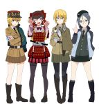 4girls absurdres armor asparagus_(girls_und_panzer) bc_freedom_military_uniform belt blonde_hair blue_eyes bonple_military_uniform boots braid brown_eyes brown_hair brown_skirt character_request crossed_arms darjeeling fang french_braid girls_und_panzer girls_und_panzer_ribbon_no_musha glasses highres japanese_armor keizoku_military_uniform knee_boots middle_finger multiple_girls necktie one_eye_closed pantyhose perfect_han plaid plaid_skirt rumi_(girls_und_panzer) school_connection school_uniform selection_university_military_uniform skirt tan_skirt tantou tatenashi_high_school_uniform tsuruki_shizuka white_background