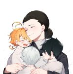 2boys 2girls :d ahoge apron artist_name black_eyes black_hair blush chu_starrkgk closed_eyes closed_mouth collar commentary dress emma_(yakusoku_no_neverland) eyes_visible_through_hair from_behind hair_bun hair_over_one_eye happy highres hug isabella_(yakusoku_no_neverland) laughing long_sleeves looking_at_another multiple_boys multiple_girls neck_tattoo norman_(yakusoku_no_neverland) number_tattoo open_mouth orange_hair ray_(yakusoku_no_neverland) shirt short_hair simple_background smile tattoo teeth tongue uniform white_background white_hair white_shirt yakusoku_no_neverland