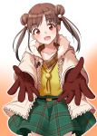 1girl :d absurdres bangs bolo_tie brown_gloves brown_hair coat commentary_request cowboy_shot double_bun eyebrows_visible_through_hair fur-trimmed_collar gloves gradient gradient_background green_skirt head_tilt highres idolmaster idolmaster_shiny_colors open_clothes open_coat open_hands open_mouth orange_background outstretched_arms parted_bangs pink_coat plaid plaid_skirt reaching_out shirt simple_background skirt smile solo sonoda_chiyoko standing swepot twintails white_background yellow_shirt
