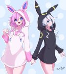 2girls black_hoodie black_sister blue_eyes closed_mouth eyebrows_visible_through_hair hair_between_eyes highres holding_hands hood hoodie long_hair looking_at_viewer multiple_girls nepgear neptune_(series) open_mouth pink_hair pink_hoodie pokemon purple_sister scarlet_zel simple_background smile standing sylveon umbreon uni_(neptune_series) white_hair