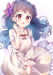 1girl :d aikatsu!_(series) aikatsu_friends! black_hair blue_hair blush bow breasts commentary_request crescent_print dress floral_background frilled_dress frills gradient gradient_background gradient_hair grey_dress hair_bow highres long_hair long_sleeves looking_at_viewer multicolored_hair open_mouth print_dress puffy_long_sleeves puffy_sleeves purple_background purple_bow red_bow red_eyes rose_background shirayuri_kaguya small_breasts smile solo torokeru_none very_long_hair white_background