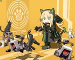 1girl animal_ears blonde_hair boots cat cat_ear_headphones cat_ears cat_tail character_name chibi circle_a commentary crying dinergate_(girls_frontline) girls_frontline green_eyes gun headphones ladder shadow steyr_tmp submachine_gun tail theft tmp_(girls_frontline) weapon
