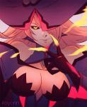 1girl bare_shoulders black_gloves black_sclera blazblue blazblue:_central_fiction breasts evil_smile eyelashes fingernails gloves hair_over_one_eye hat hat_over_one_eye impossible_clothes konoe_a_mercury koyorin large_breasts lips long_fingernails long_hair looking_at_viewer pink_hair sharp_fingernails simple_background smile solo upper_body witch_hat yellow_eyes