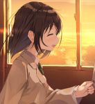 1girl :d bangs blush bow bowtie brown_hair brown_jacket closed_eyes ears eyebrows_visible_through_hair hand_up holding indoors jacket long_sleeves looking_away nagishiro_mito open_mouth original out_of_frame school_uniform short_hair smile solo sunset uniform window