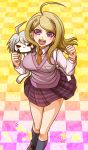 1girl ahoge akamatsu_kaede bangs blonde_hair breasts brown_footwear brown_neckwear character_doll checkered checkered_floor collared_shirt danganronpa doll_on_shoulder grey_legwear keebo kneehighs long_hair long_sleeves looking_at_viewer medium_breasts miniskirt musical_note musical_note_hair_ornament musical_note_print new_danganronpa_v3 pleated_skirt print_skirt purple_skirt purple_sweater shiny shiny_hair shirt skirt solo standing sweater sweater_vest swept_bangs violet_eyes white_shirt wing_collar yumaru_(marumarumaru)