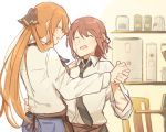1boy 1girl apron bandages barista black_neckwear brown_hair cafe closed_eyes collared_shirt commander_(girls_frontline) commentary dancing denim girls_frontline hair_rings height_difference jeans long_hair long_sleeves m1903_springfield_(girls_frontline) necktie pants ponytail shirt sidelocks smile white_shirt xinhao