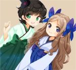 2girls ahoge asakaze_(kantai_collection) bangs black_hair blue_bow blue_eyes blue_hakama boots bow brown_background cowboy_shot cross-laced_footwear dutch_angle forehead furisode green_eyes green_hakama hair_bow hakama hat japanese_clothes kantai_collection kimono knee_boots lace-up_boots light_brown_hair long_hair looking_at_viewer matsukaze_(kantai_collection) meiji_schoolgirl_uniform mini_hat mini_top_hat multiple_girls naruki_(kaminari) parted_bangs short_hair sidelocks simple_background smile swept_bangs top_hat tsurime wavy_hair white_kimono