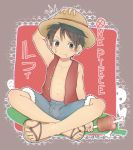 1boy 89usagi abs armpits barefoot black_hair blush boned_meat brown_eyes character_name chest chromatic_aberration closed_mouth copyright_name crossed_legs denim denim_shorts disconnected_mouth eating food food_on_face full_body fur-trimmed_shorts grey_shorts hand_on_headwear hat highres holding holding_food legs male_focus meat monkey_d_luffy muscle one_piece open_clothes open_vest pirate plaid plaid_background red_vest sandals scar shorts silhouette_demon solo straw_hat unbuttoned vest