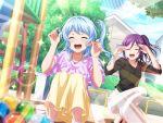 bang_dream! blue_hair blush closed_eyes dress long_hair matsubara_kanon smile