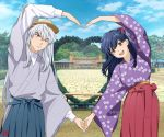 1boy 1girl artist_logo black_hair blush bow breasts brown_headwear building clouds cloudy_sky couple cowboy_shot day embarrassed eyebrows_visible_through_hair floral_print hair_between_eyes hair_bow hakama hat heart_arms heart_arms_duo hetero higurashi_kagome holding_hands inuyasha inuyasha_(character) japanese_clothes kimono long_hair long_sleeves looking_at_another medium_breasts motobi_(mtb_umk) one_eye_closed open_mouth orange_eyes outdoors pavement photo_background pose shirt silver_hair sky slit_pupils smile striped striped_kimono tree wide_sleeves