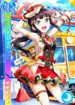 armpits black_hair blush character_name dress green_eyes kurosawa_dia long_hair love_live!_school_idol_festival love_live!_sunshine!! smile train twin_braids