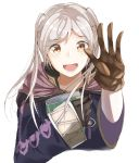 1girl book brown_eyes brown_gloves commentary_request female_my_unit_(fire_emblem:_kakusei) fire_emblem fire_emblem:_kakusei gloves highres holding holding_book hood hood_down long_sleeves my_unit_(fire_emblem:_kakusei) open_mouth simple_background solo tpicm twintails upper_body white_background white_hair