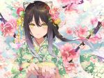 1girl animal_ear_fluff animal_ears black_hair cat_ears cherry_blossoms floral_print flower gradient_hair green_kimono hair_between_eyes highres holding_hands japanese_clothes kashiwazaki_shiori kimono long_sleeves looking_at_viewer multicolored_hair nail_polish petals pink_flower pink_nails princess_connect! princess_connect!_re:dive print_kimono silver_hair smile two-tone_hair upper_body waterring yellow_eyes