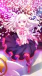 1girl absurdres black_skirt blurry blurry_background boots dress_shirt earrings fate/kaleid_liner_prisma_illya fate_(series) feathers floating_hair gloves hair_between_eyes hair_feathers headset highres idol illyasviel_von_einzbern jewelry long_hair long_skirt long_sleeves looking_at_viewer magical_ruby microphone neck_ribbon official_art open_mouth pink_gloves plaid_footwear plaid_gloves red_eyes red_footwear red_legwear red_ribbon ribbon shirt silver_hair skirt solo stage standing two_side_up white_feathers white_shirt