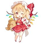 1girl ;3 ;d ascot blonde_hair blush chibi crystal fang flandre_scarlet full_body hat hat_ribbon holding holding_stuffed_animal looking_at_viewer medium_hair mob_cap one_eye_closed open_mouth paragasu_(parags112) petticoat puffy_short_sleeves puffy_sleeves red_eyes red_ribbon red_skirt red_vest ribbon shirt shoes short_sleeves simple_background skirt skirt_set smile socks solo standing stuffed_animal stuffed_toy teddy_bear touhou v-shaped_eyebrows vest white_background white_shirt wings wrist_cuffs yellow_neckwear