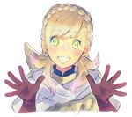 1girl aisutabetao armor blonde_hair blush braid cape fire_emblem fire_emblem_heroes gloves green_eyes intelligent_systems long_hair looking_at_viewer nintendo open_mouth sharena simple_background smile solo super_smash_bros. white_background